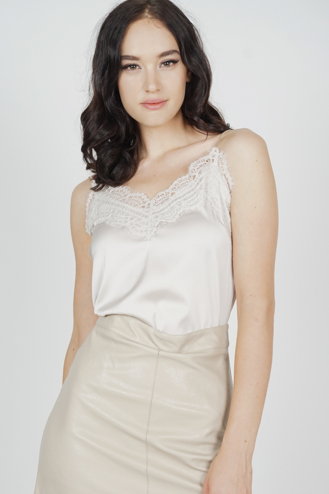 Willow Lace-Trimmed Top in Nude - Arriving Soon