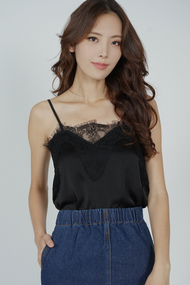 Riwa Lace-Trimmed Top in Black - Arriving Soon