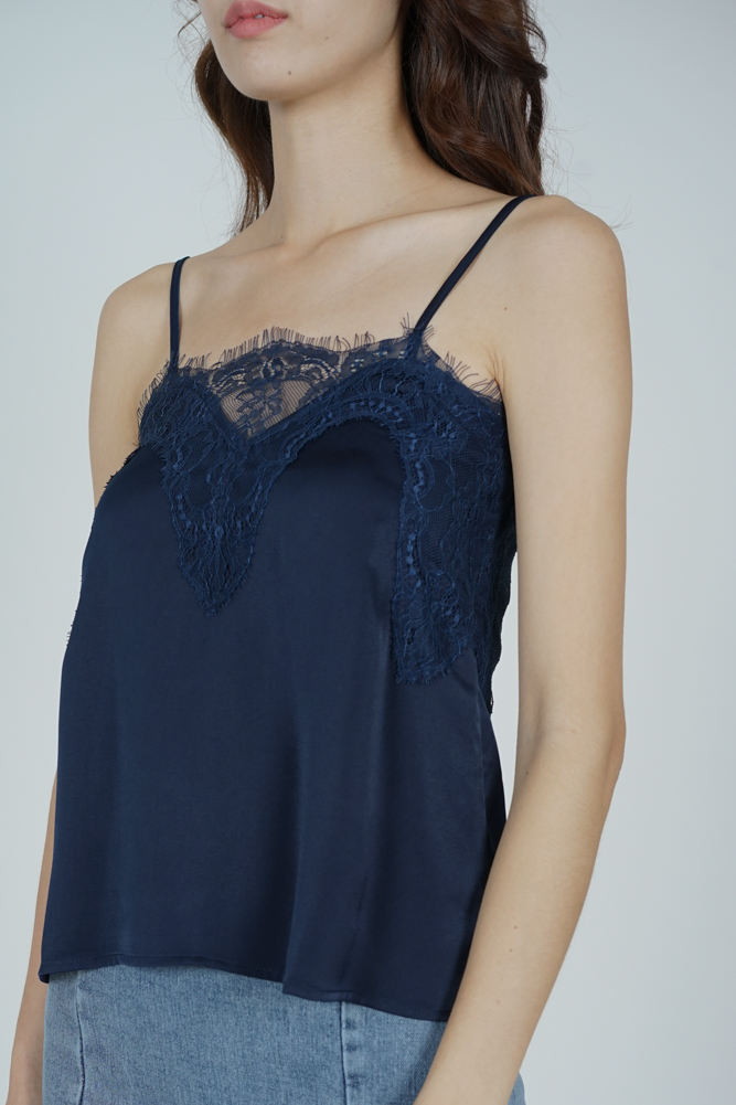 Riwa Lace-Trimmed Top in Midnight - Arriving Soon