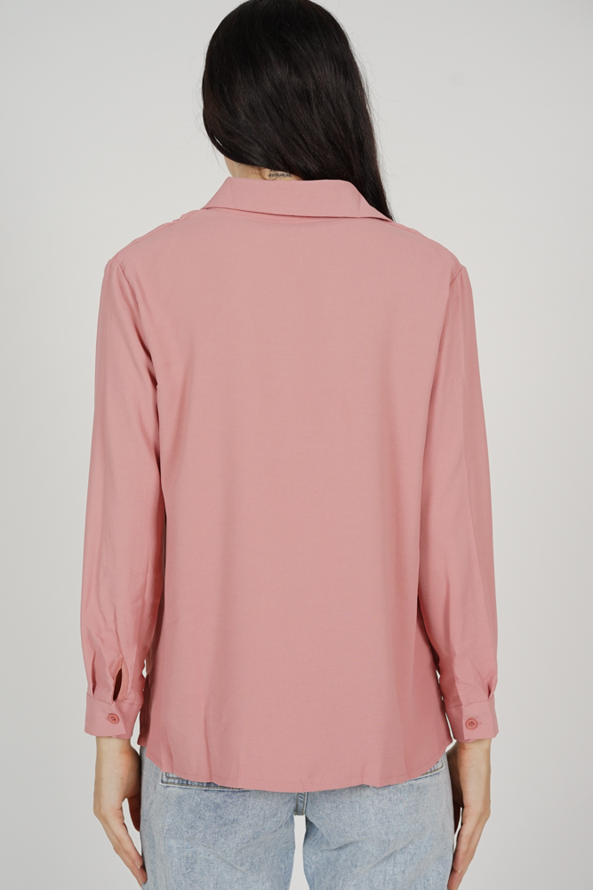Maya Collared Drape Top in Nude Pink - Online Exclusive
