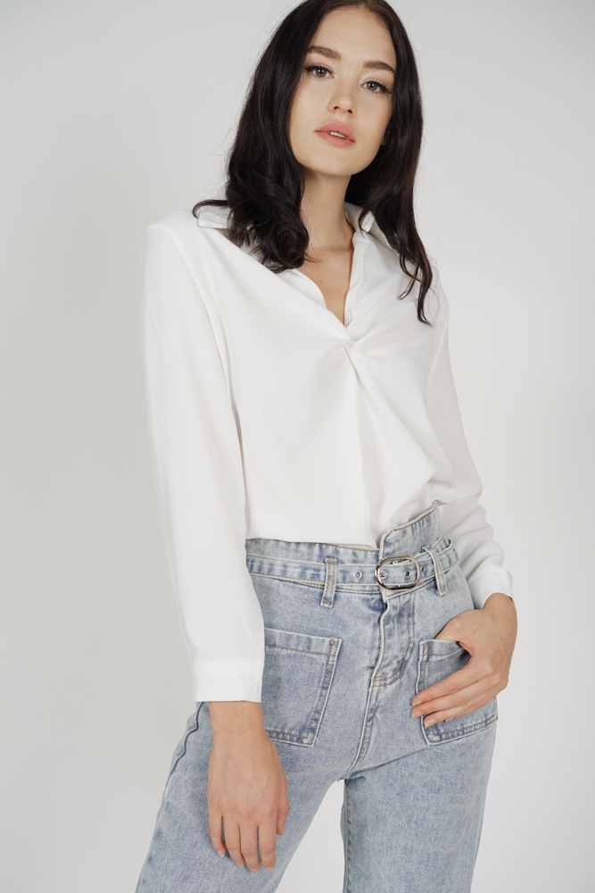 Maya Collared Drape Top in White - Online Exclusive