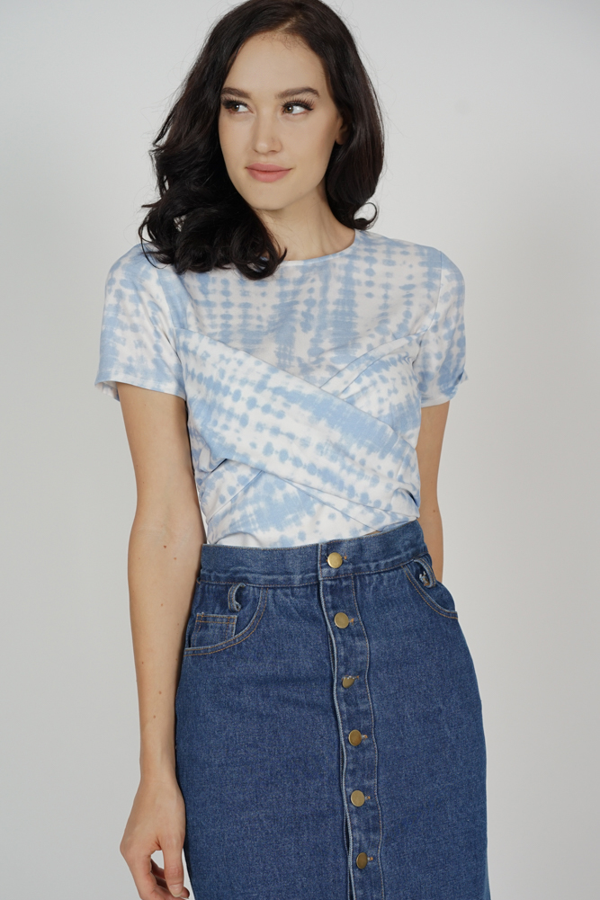 Mayrie Criss Cross Top in Blue