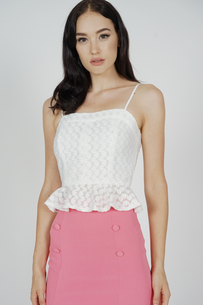 Oliana Cami Top in White - Arriving Soon