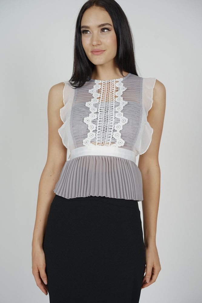 Lestie Pleated Peplum Top in Grey