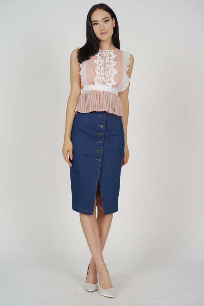 Lestie Pleated Peplum Top in Pink - Arriving Soon