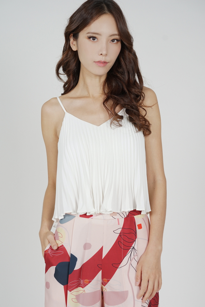 Afra Pleated Cami Top in White