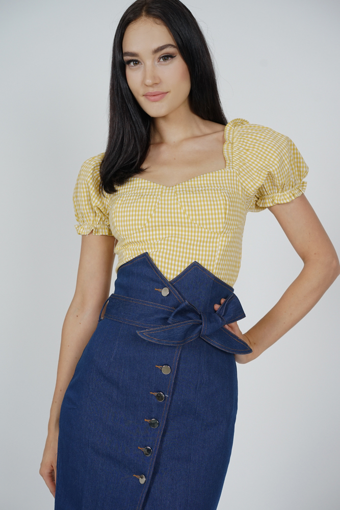 Ukla Puffy Top in Yellow Gingham