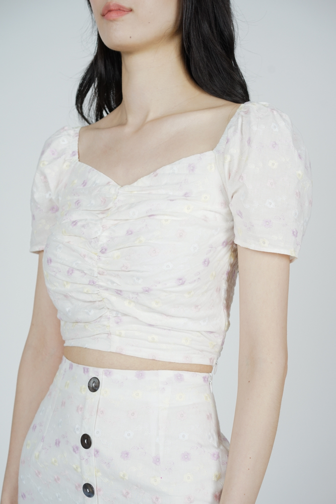 Sholia Gathered Front Top in Cream Floral - Arriving Soon