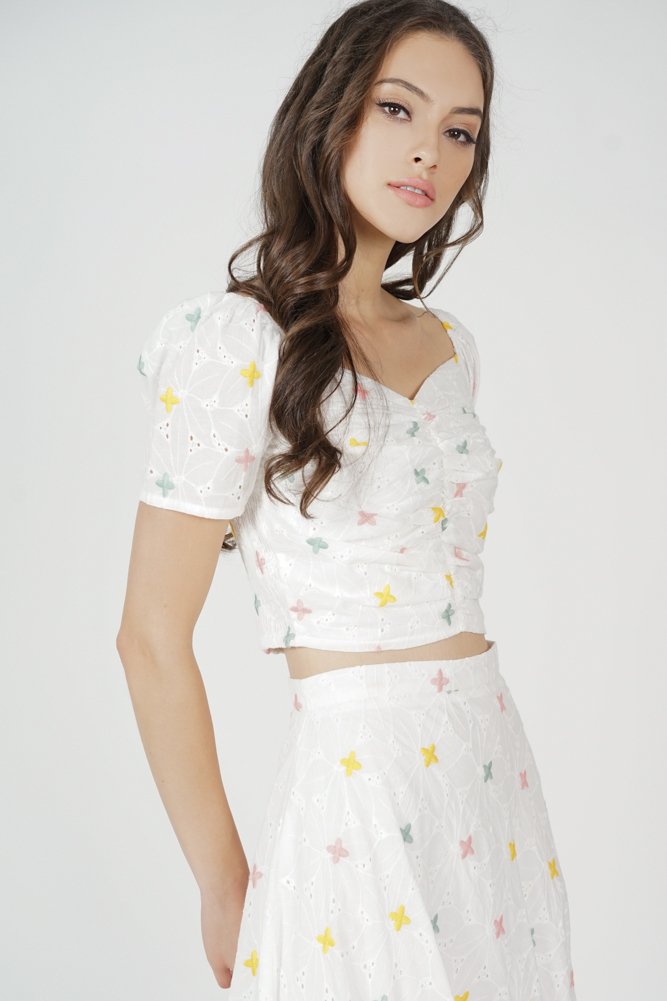 Sholia Gathered Front Top in Eyelet Floral - Arriving Soon