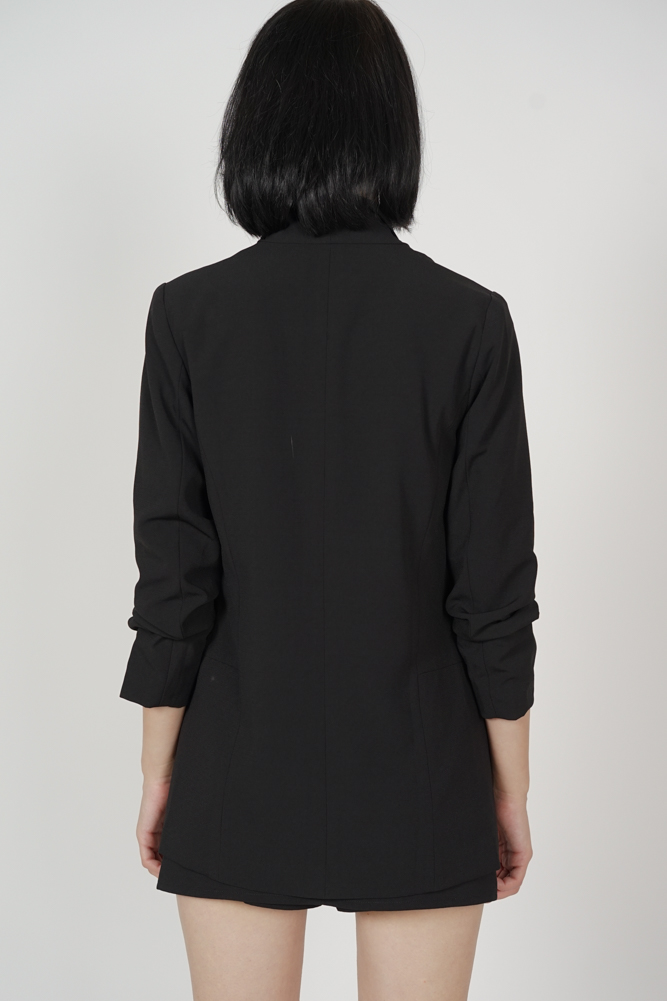 Maizel Gathered Sleeve Blazer in Black - Arriving Soon