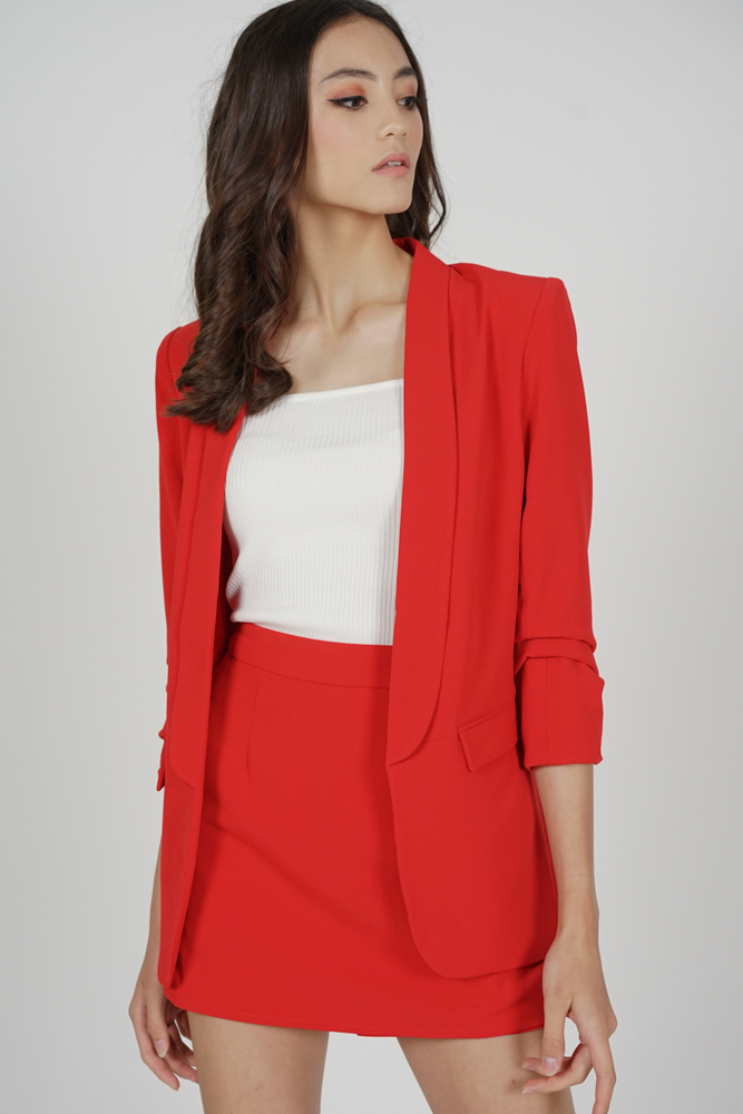 Maizel Gathered Sleeve Blazer in Red