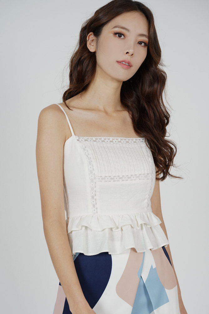 Tarissa Pleated Cami Top in White