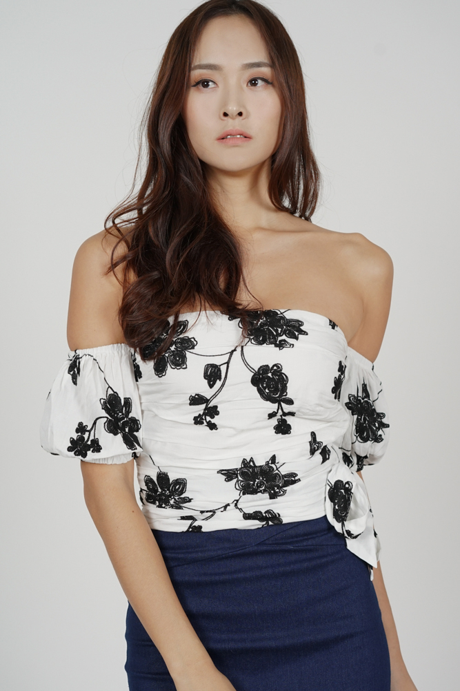Mellie Ruched Top in White Floral - Arriving Soon