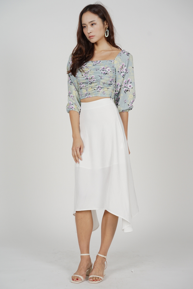 Zyra Ruched Top in Mint Floral - Arriving Soon