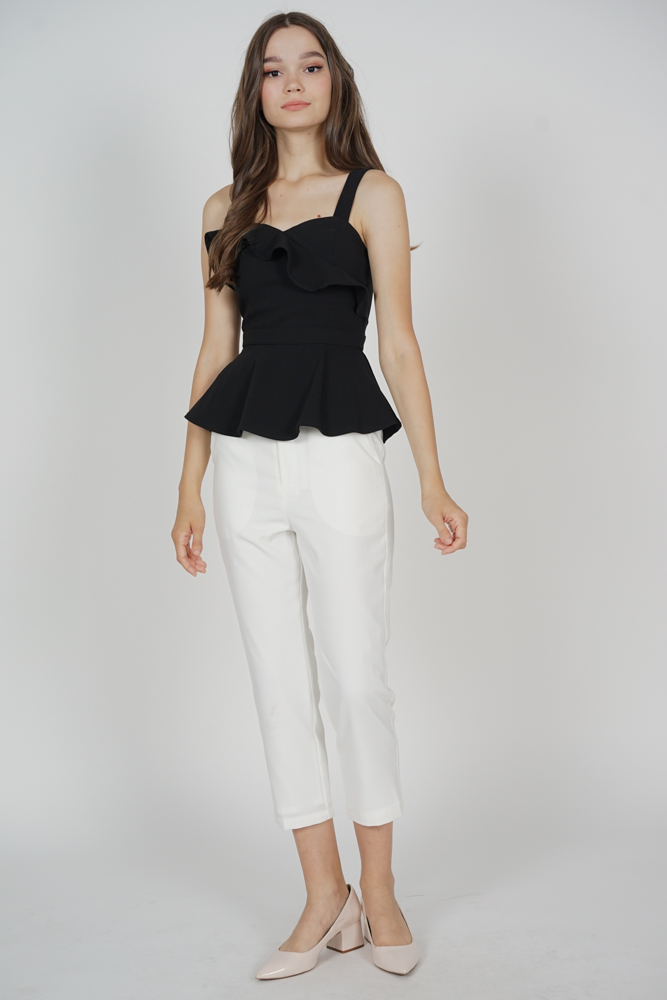 Donea Peplum Top in Black - Arriving Soon