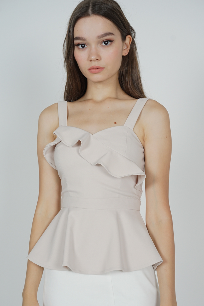 Donea Peplum Top in Nude - Arriving Soon