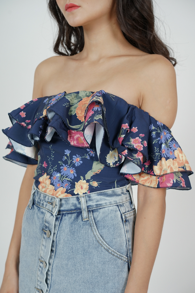 Yelda Flounce Top in Midnight Floral
