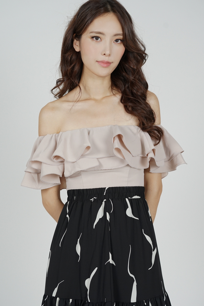 Yelda Flounce Top in Nude - Arriving Soon