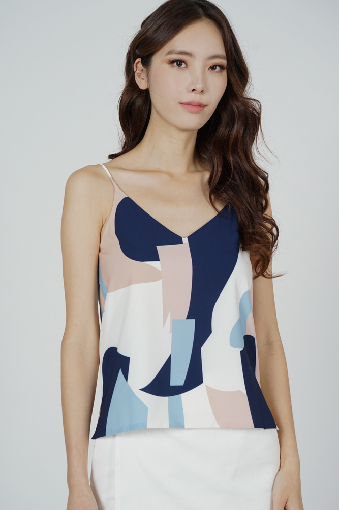 Arfo Cami Top in Blue Abstract