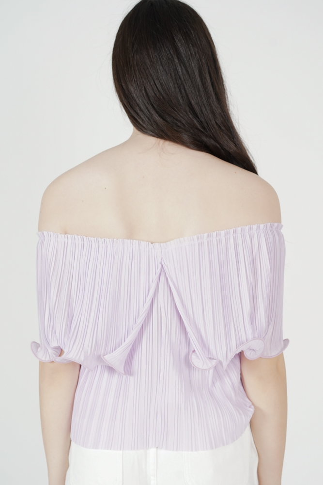 Jubi Pleated Ruffle Top in Lilac - Arriving Soon