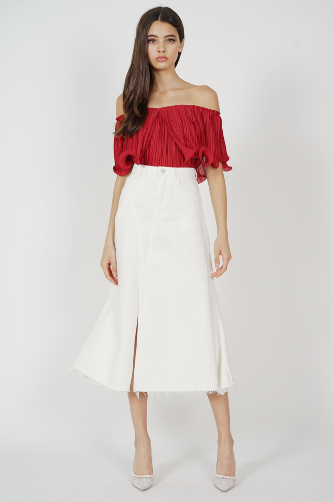 Jubi Pleated Ruffle Top in Red - Arriving Soon
