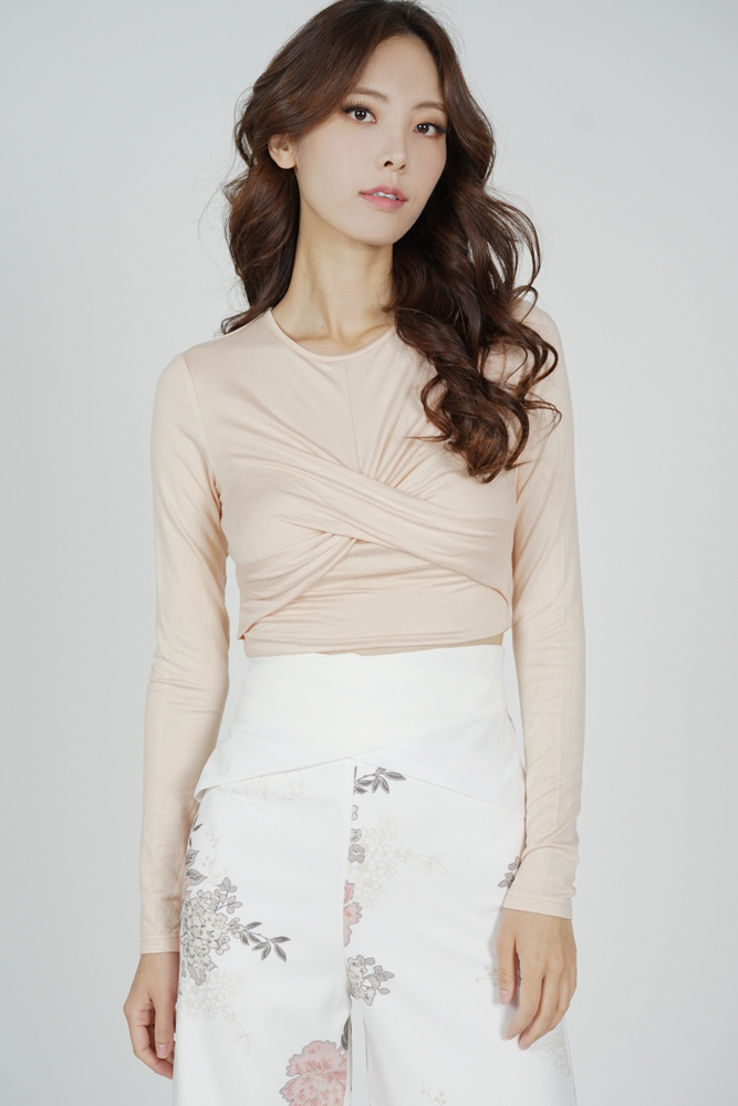 Dolman Front Knotted Top in Beige