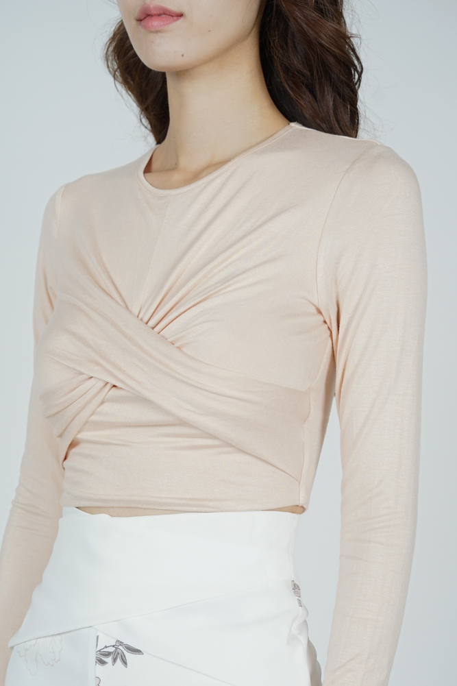Dolman Front Knotted Top in Beige - Arriving Soon