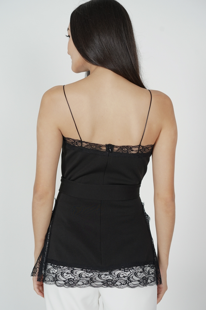 Mairo Lace-Trimmed Top in Black