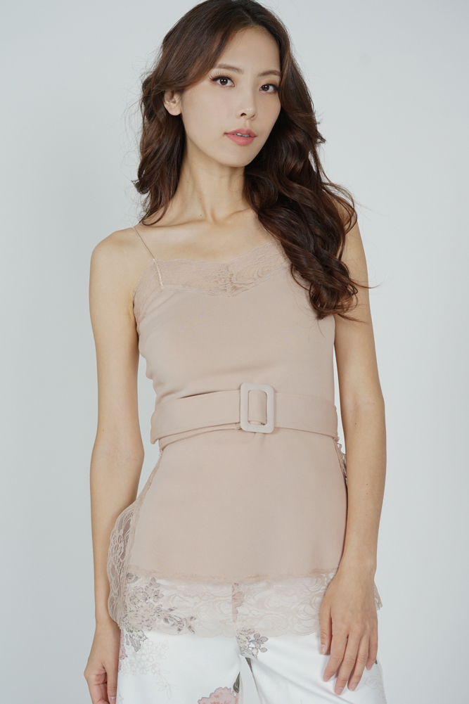 Mairo Lace-Trimmed Top in Nude