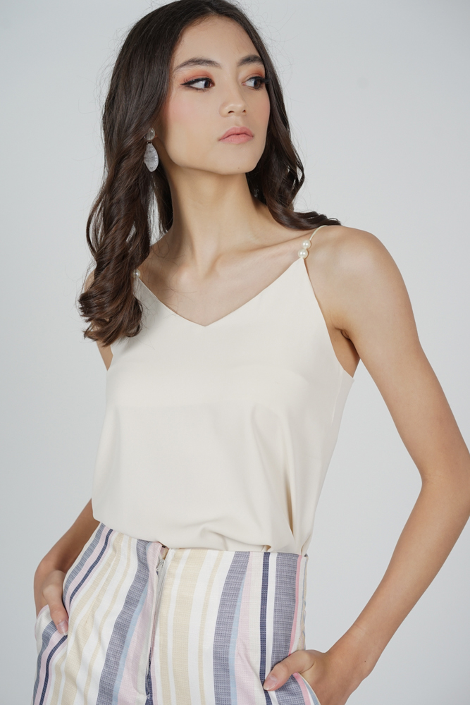Roni Beaded Cami Top in Cream - Online Exclusive