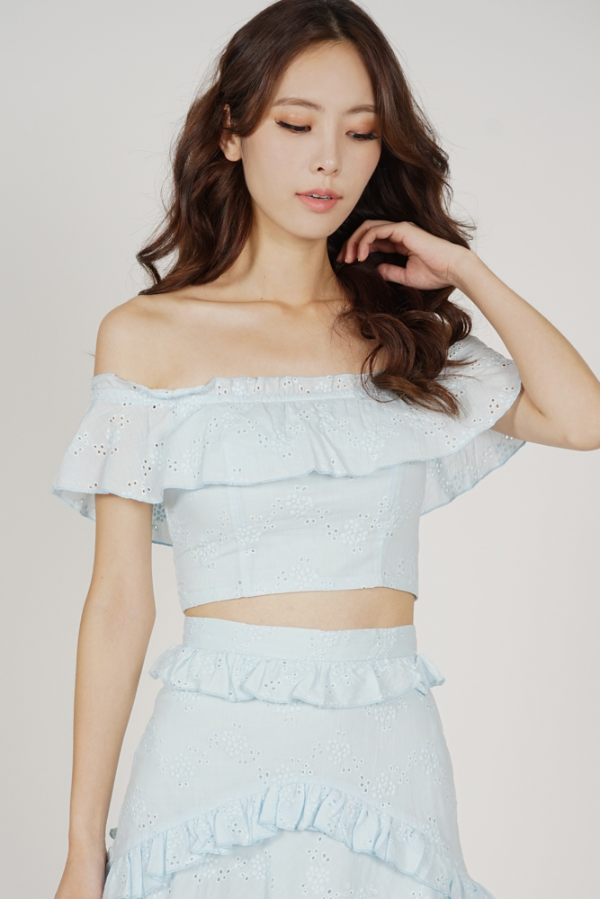 Pia Ruffled Eyelet Top in Light Blue