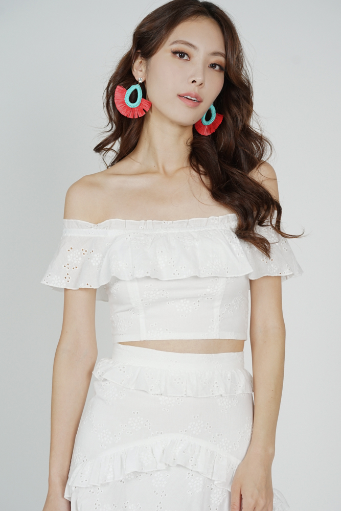 Pia Ruffled Eyelet Top in White