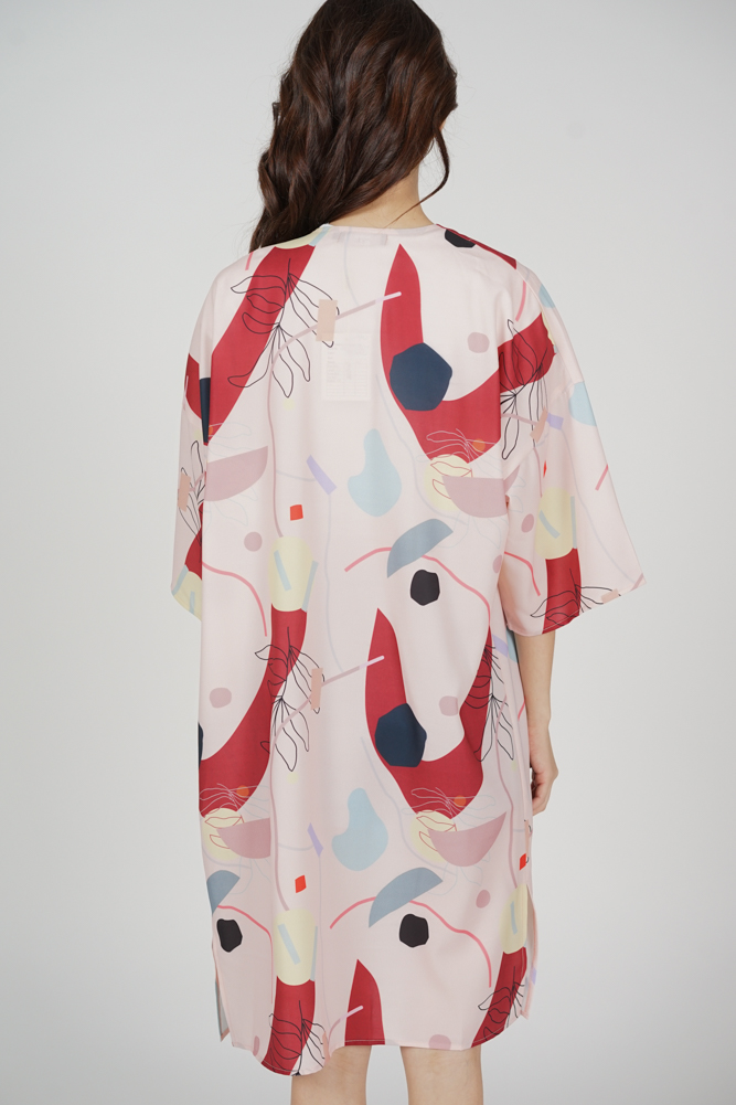 Marno Abstract Duster Kimono in Pink Red