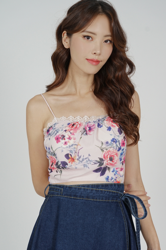 Davie Cropped Top in Pink Floral