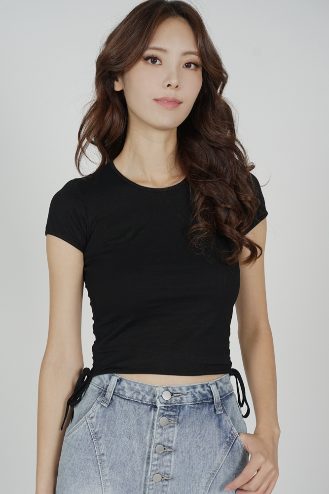 Jojie Gathered Tie Top in Black