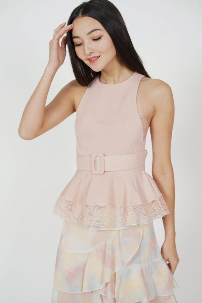 Eriza Lace-Trimmed Top in Pink - Arriving Soon