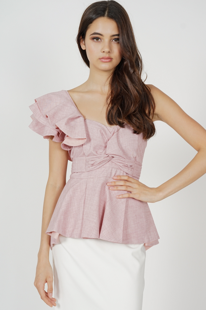 Stacie Peplum Toga Top in Pink