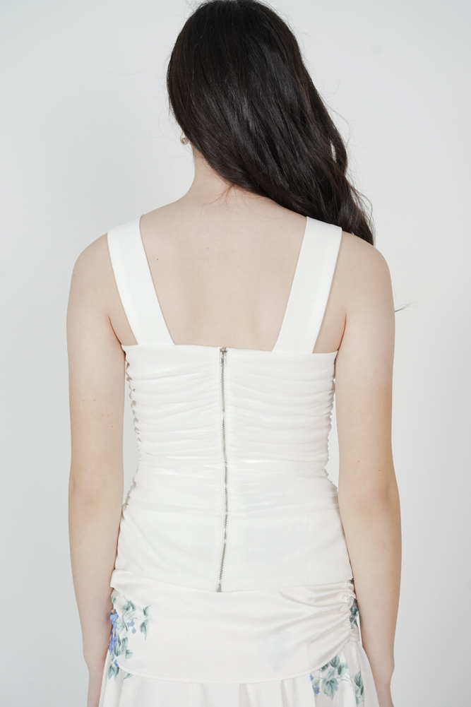 Naava Ruched Mesh Top in White - Arriving Soon
