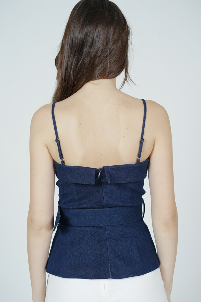 Bailey Peplum Top in Blue Denim - Arriving Soon