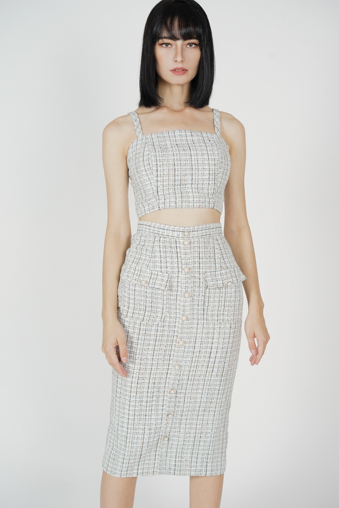 Sonia Tweed Skirt in White Blue - Arriving Soon