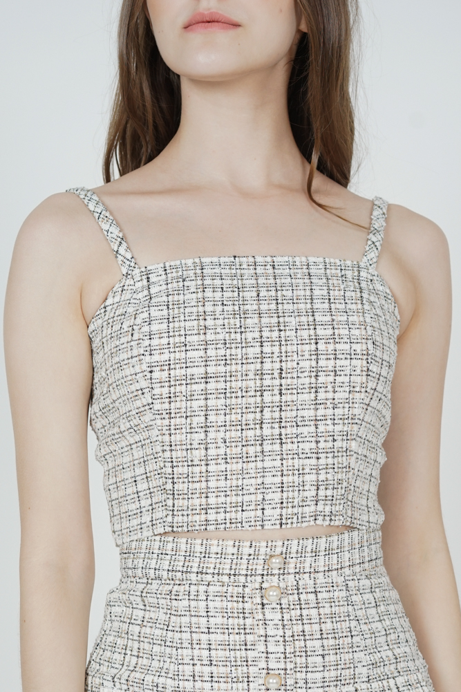 Sonia Tweed Crop Top in White