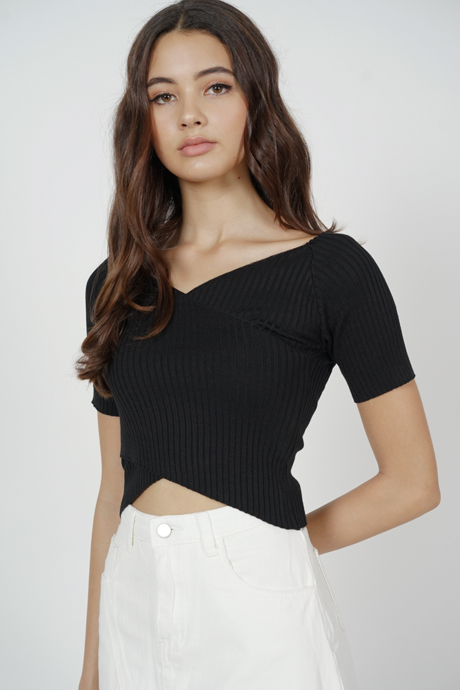 Regine Sleeved Top in Black - Arriving Soon