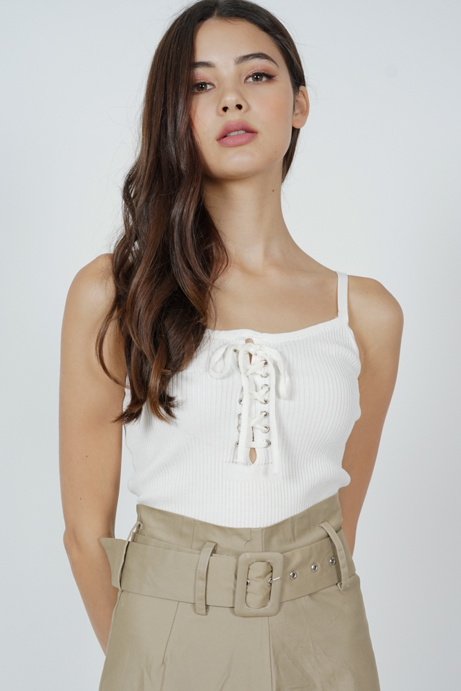 Nimo Lace-Up Cami Top in White - Online Exclusive