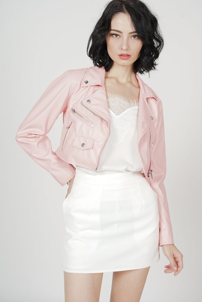 Aiber Leather Jacket in Pink
