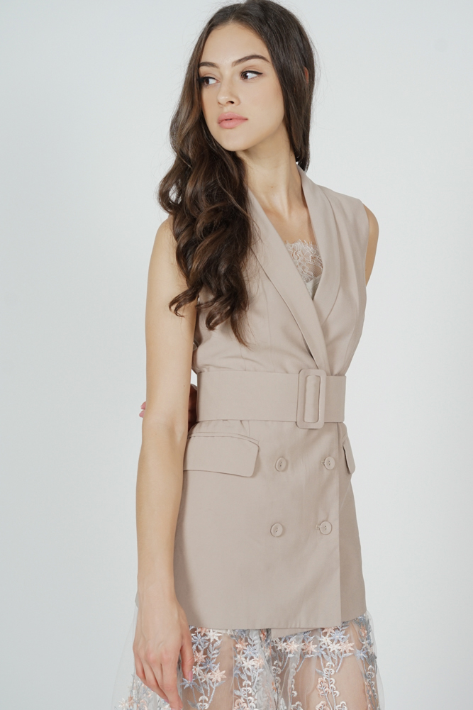 Alena Belted Vest in Khaki - Arriving Soon