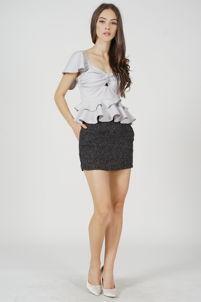 Annette Ruffled Toga Top in Grey - Arriving Soon