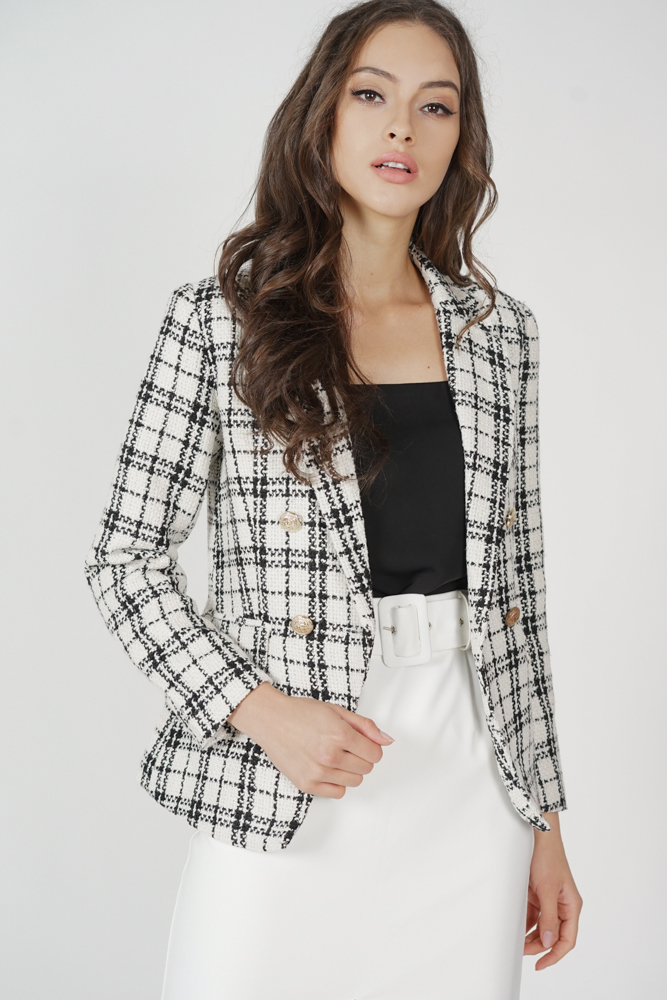 Oxley Tweed Blazer in White
