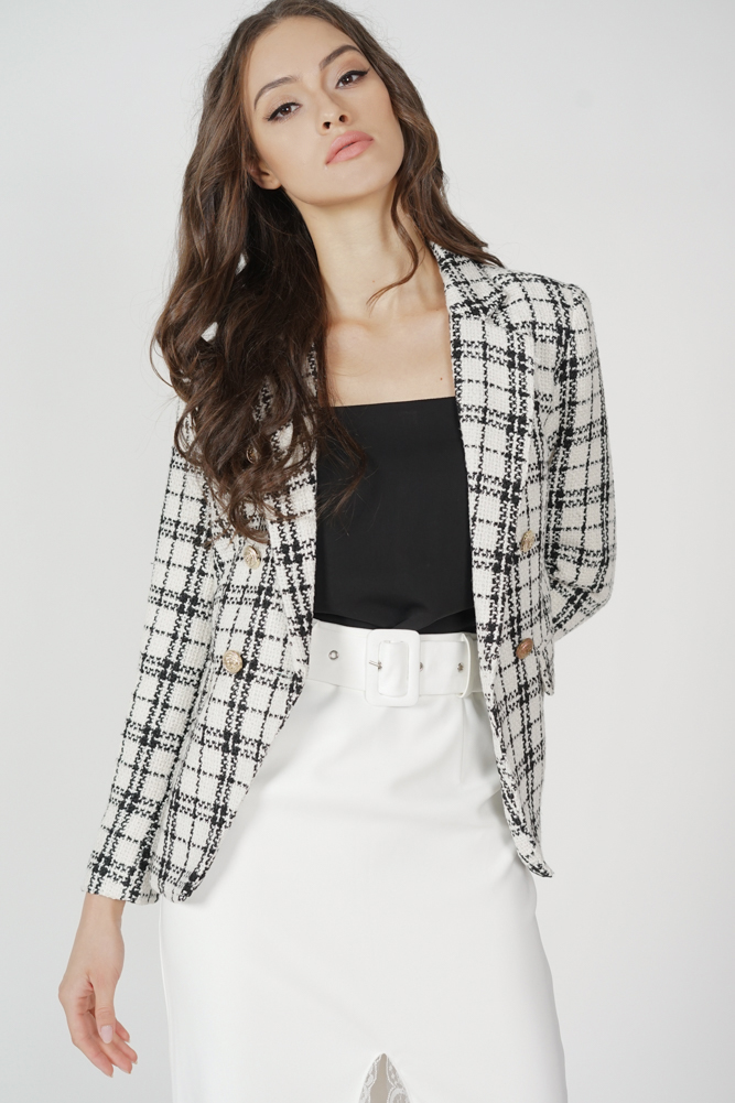Oxley Tweed Blazer in White - Arriving Soon