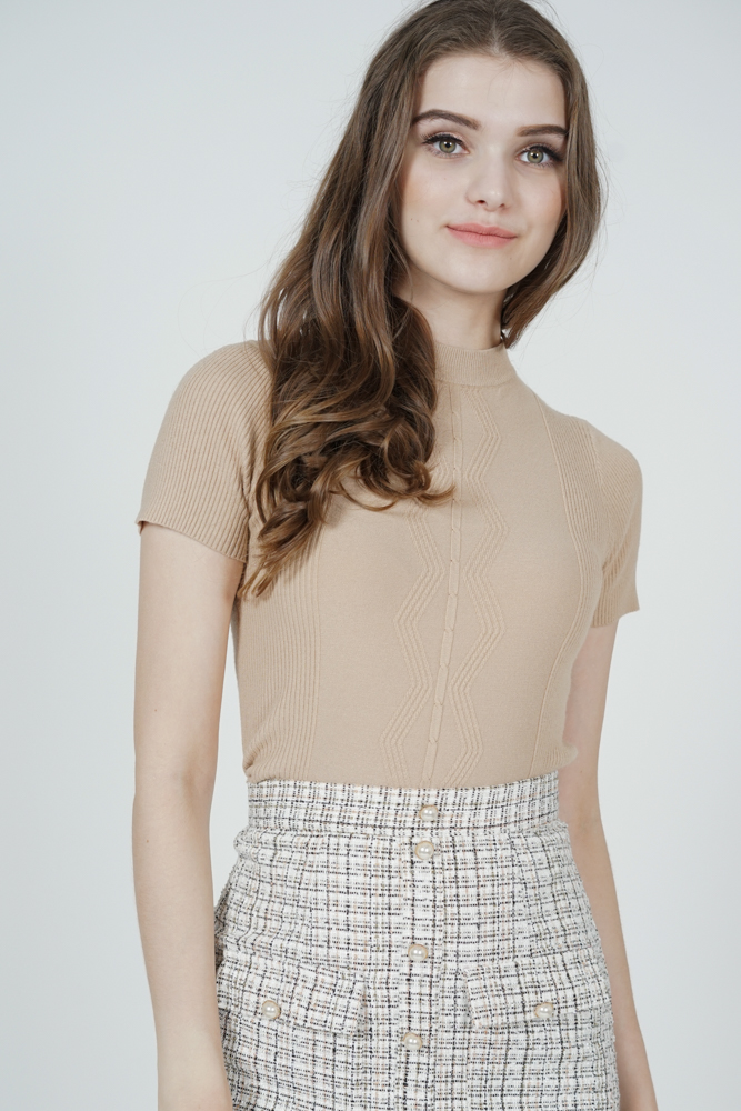 Gabbie Knit Top in Beige - Online Exclusive