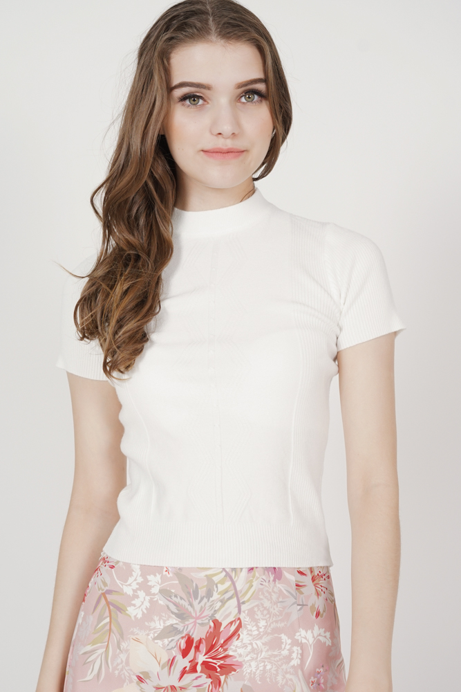 Gabbie Knit Top in White